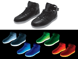 Black Hi-Top LED Sneaker - Size 7