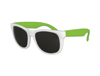 Classic Style Sunglasses - White with Neon Green Arms