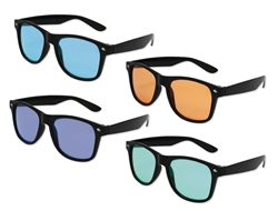 Black Frame Iconic Sunglasses with Color Lenses - UV400