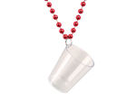 Shot Glass Bead Necklace - Red