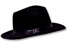 Black Velour Gangster Hat