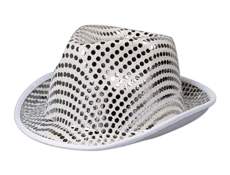 Silver Sequin Fedora Hat