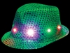 S46053 - LED Green Sequin Fedora