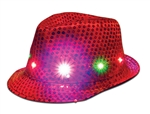 S46054 - LED Red Sequin Fedora