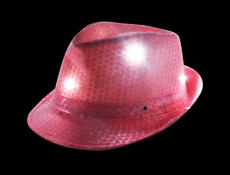 S46085 - Hot Pink Sequin LED Fedora