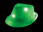 S46086 - Neon Green Sequin LED Fedora