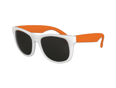 Classic Style Sunglasses - White with Neon Orange Arms