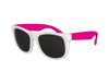 Classic Style Sunglasses - White with Neon Pink Arms