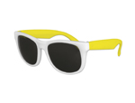 Classic Style Sunglasses - White with Neon Yellow Arms