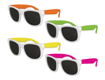 Classic Style Sunglasses - White with Neon Arms Assorted