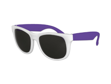S53028 - White Frame Classic Sunglasses With Purple Arms