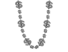"33"" Silver Dollar Sign Beads"