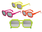 S70299 - Neon Pixel Mirrored Lens Glasses