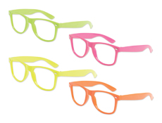 S70444 - No Lens Neon Blues Brother Glasses