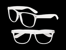 S70445 - No Lens White Blues Brother Glasses