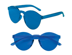 S71407 - Blue Solid Rimless Glasses