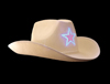 S8405 - White LED Cowboy Hat Flashing Star