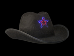 Black LED Cowboy Hat Flashing Star