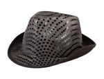 S9495 - Black Sequin Fedora Hat