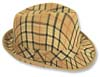 Tan Plaid Fedora Hat