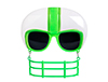 White with Green Stripe Football Helmet Gameshade