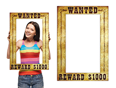WP1333 - Wanted Photo Booth Prop Frame